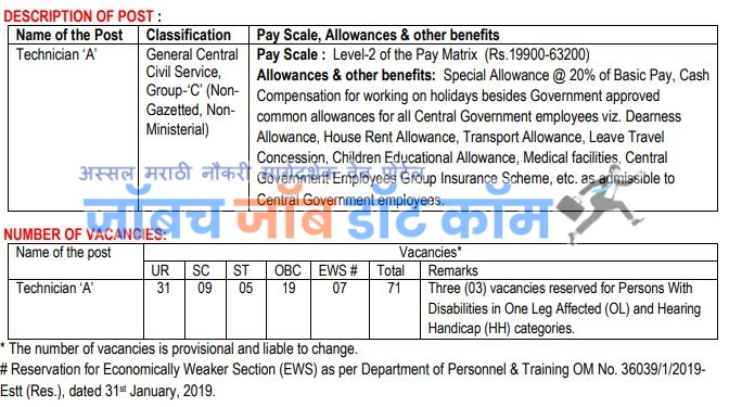 NTRO Bharti For post of Technician A post details