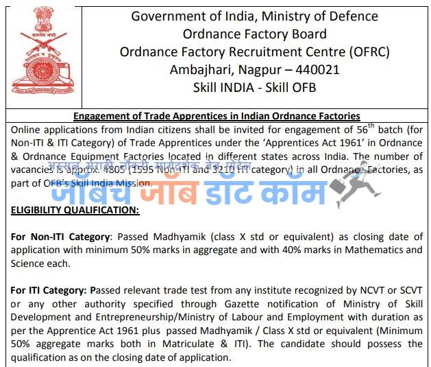 Ordnance Factory Bharti 2020 Ambajhari Nagpur Apprentice Bharti Skill India Mission