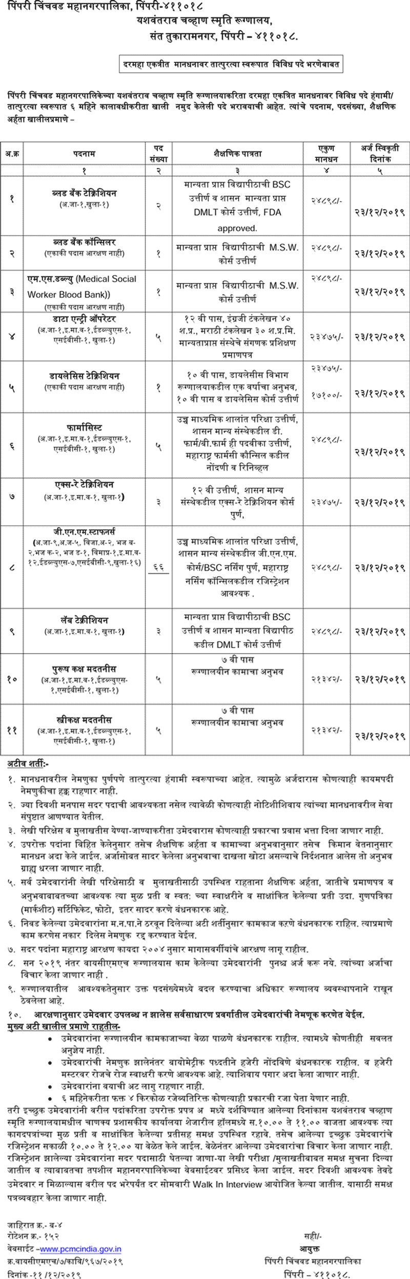 PCMC Recruitment 2019 | Jobs in pcmcindia.gov.in [pcmc.gov.in]