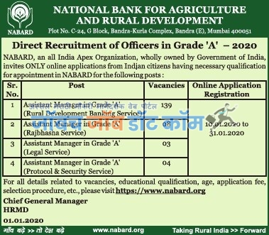 NABARD Bharti 2020 NABARD Bank Officer Recruitment 2020 @ nabard.org