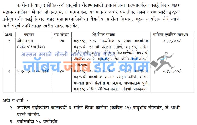 Vasai Virar Mahanagarpalika Bharti 2020